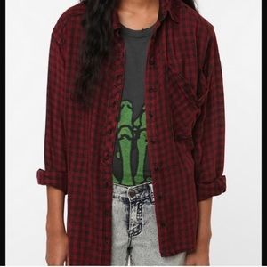 UO Ecote ombré oversized plaid button up shirt